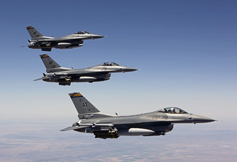 Framed Three F-16's fly in Formation over Arizona Print