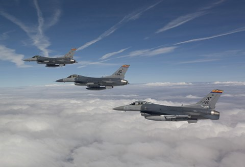 Framed Three F-16's over the Clouds of Arizona Print