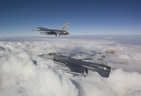 Framed Two F-16's flying in the Clouds Print