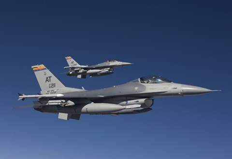 Framed Two F-16's in a Blue Sky Print
