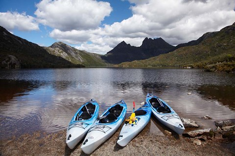 Framed Kayaks, Cradle Mountain and Dove Lake, Western Tasmania, Australia Print
