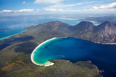 Framed Wineglass Bay and The Hazards, Freycinet National Park, Tasmania, Australia Print
