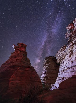 Framed Milky Way  above the Wedding Party Rock Formation, Oklahoma Print