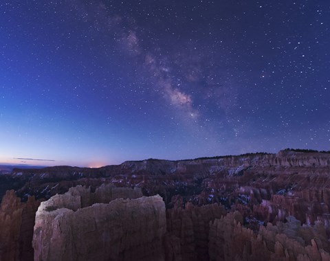 Framed Milky Way over the Needle Rock Formations of Bryce Canyon, Utah Print