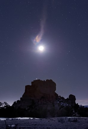 Framed Moon Diffraction over Malpais Monument Rock, New Mexico Print