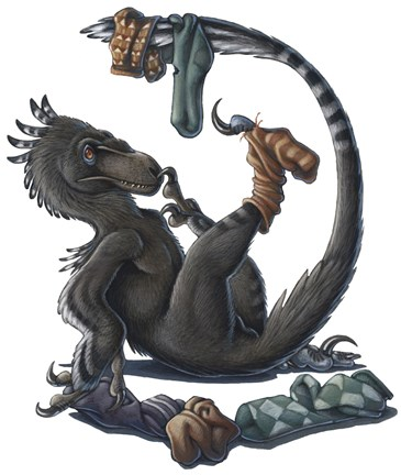 Framed Deinonychus Dinosaur Playing with Socks Print