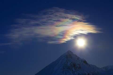 Framed Full Moon with Rainbow Clouds at Ogilvie Mountains Print