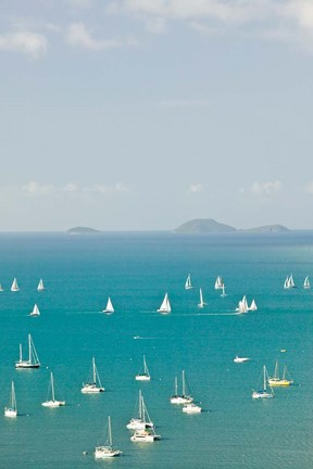 Framed Australia, Queensland, Whitsunday, Airlie, Sailboats Print