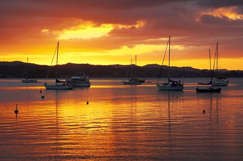 Framed Sunset, Russell, Bay of Islands, Northland, New Zealand Print