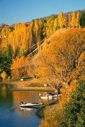 Framed Boats and Autumn Colours, Lake Dunstan, Central Otago, New Zealand Print