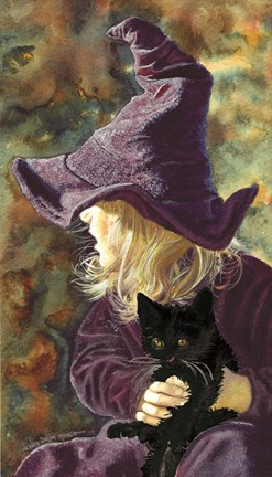Framed Three Wishes - Witch Way, Black Cat Print