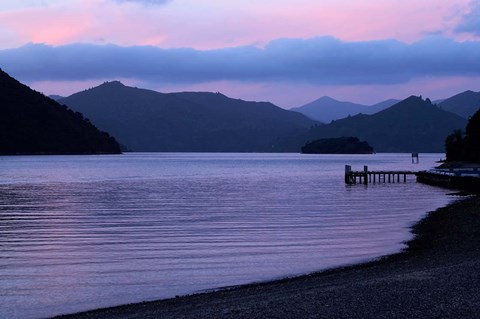 Framed Dusk on Picton Harbour, Marlborough Sounds, South Island, New Zealand Print