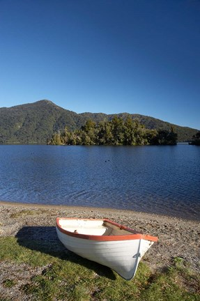 Framed Dinghy, Hans Bay, Lake Kaniere, South Island, New Zealand Print