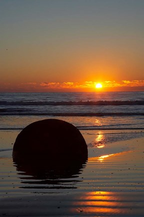 Framed Sunset, Moeraki Boulder, Otago, South Island, New Zealand Print