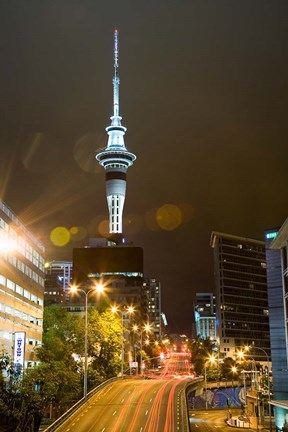 Framed Skytower, Hobson St, Auckland, North Island, New Zealand Print
