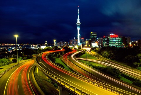 Framed Motorways and Skytower, Auckland Print