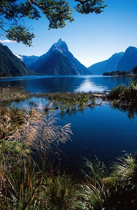 Framed New Zealand, Mitre Peak, Milford Sound, Fiordland NP Print