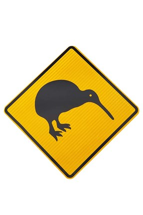 Framed Kiwi Warning Sign, New Zealand Print