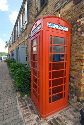 Framed Red Telephone box, Nelson's Dockyard, Antigua Print