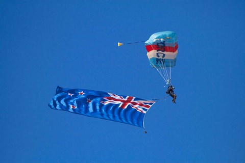 Framed RNZAF Sky Diving, New Zealand flag, Warbirds over Wanaka, South Island New Zealand Print
