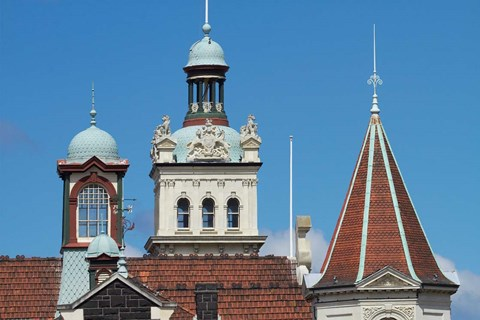 Framed Turrets, Spires & Clock Tower, Historic Railway Station, Dunedin, South Island, New Zealand Print