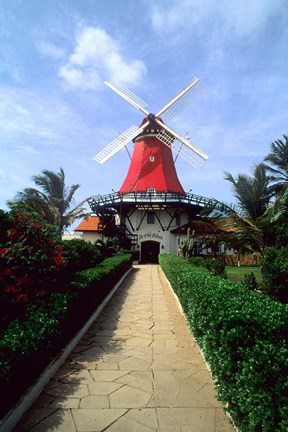 Framed Windmill, Famous Old Mill Restaurant in Aruba Print