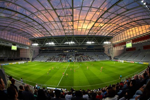 Framed Football game, Forsyth Barr Stadium, Dunedin, South Island, New Zealand - fisheye Print