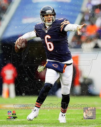 Framed Jay Cutler Holding Football Print