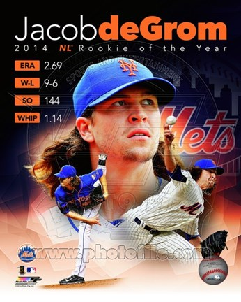 Framed Jacob deGrom 2014 Portrait Plus Print