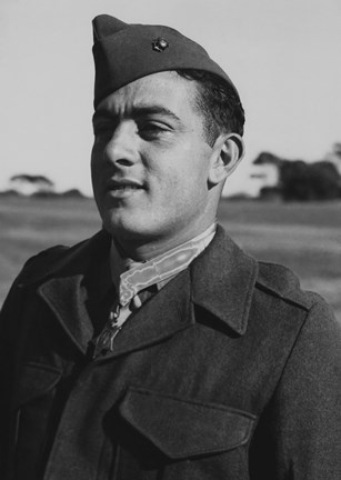Framed Gunnery Sergeant John Basilone (close up) Print