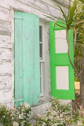 Framed Beach House Green shutters, Loyalist Cays, Bahamas, Caribbean Print
