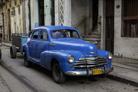 Framed 1950's era blue car, Havana Cuba Print