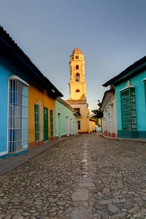 Framed Bell Tower, Plaza Mayor at sunrise, Trinidad, Cuba Print