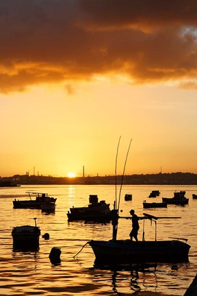 Framed Boats silhouetted at sunrise, Havana Harbor, Cuba Print