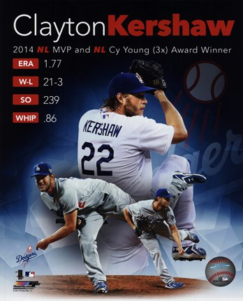 Framed Clayton Kershaw 2014 National League MVP & Cy Young Award Winner Portrait Plus Print