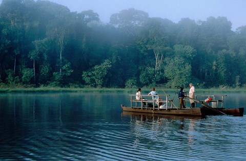 Framed Wildlife from Raft on Oxbow Lake, Morning Fog, Posada Amazonas, Tamboppata River, Peru Print