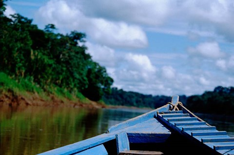 Framed Canoe on the Tambopata River, Peruvian Amazon, Peru Print