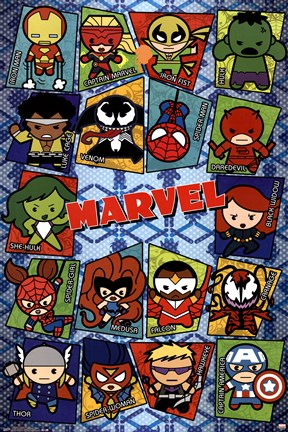 Framed Marvel - Kawaii Grid Print