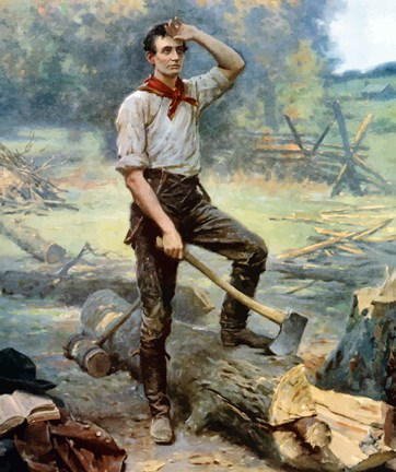Framed Digitally restored Vector Painting of a Young Abraham Lincoln Chopping Wood Print
