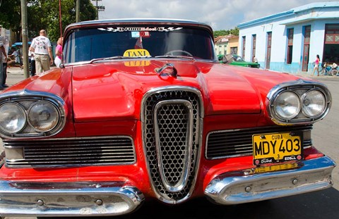 Framed Classic 1950s Edsel parked on downtown street, Cardenas, Cuba Print