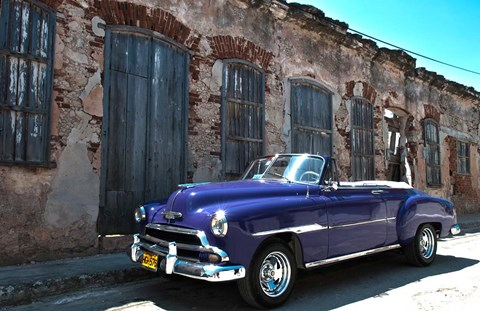 Framed Classic 1953 Chevy against worn stone wall, Cojimar, Havana, Cuba Print