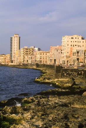 Framed Malecon, Waterfront in Old City of Havana, Cuba Print