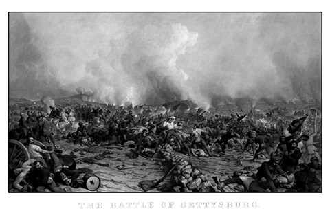 Framed Battle of Gettysburg (digitally restored, black & white) Print