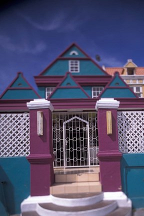 Framed Colorful Buildings and Detail, Willemstad, Curacao, Caribbean Print