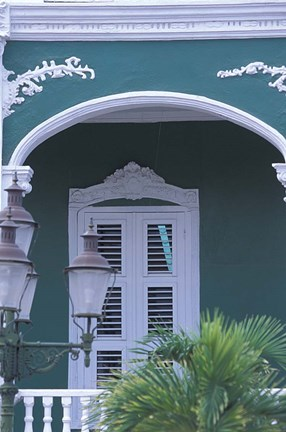 Framed Green Building and Detail, Willemstad, Curacao, Caribbean Print