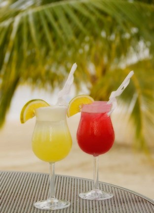 Framed Cocktails on the Beach, Jamaica, Caribbean Print
