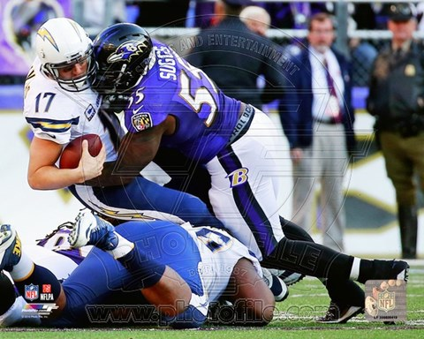 Framed Terrell Suggs Tackle Action Print