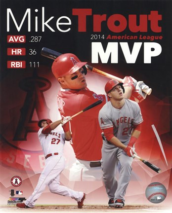 Framed Mike Trout 2014 American League MVP Portrait Plus Print