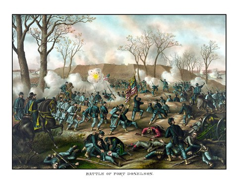 Framed Civil War Print of The Battle of Fort Donelson Print