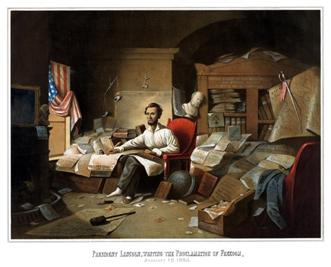 Framed President Lincoln Writing the Emancipation Proclamation Print